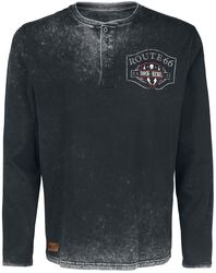 Rock Rebel X Route 66 - Black Long-Sleeve Top with Button Placket, Print and Appliqué