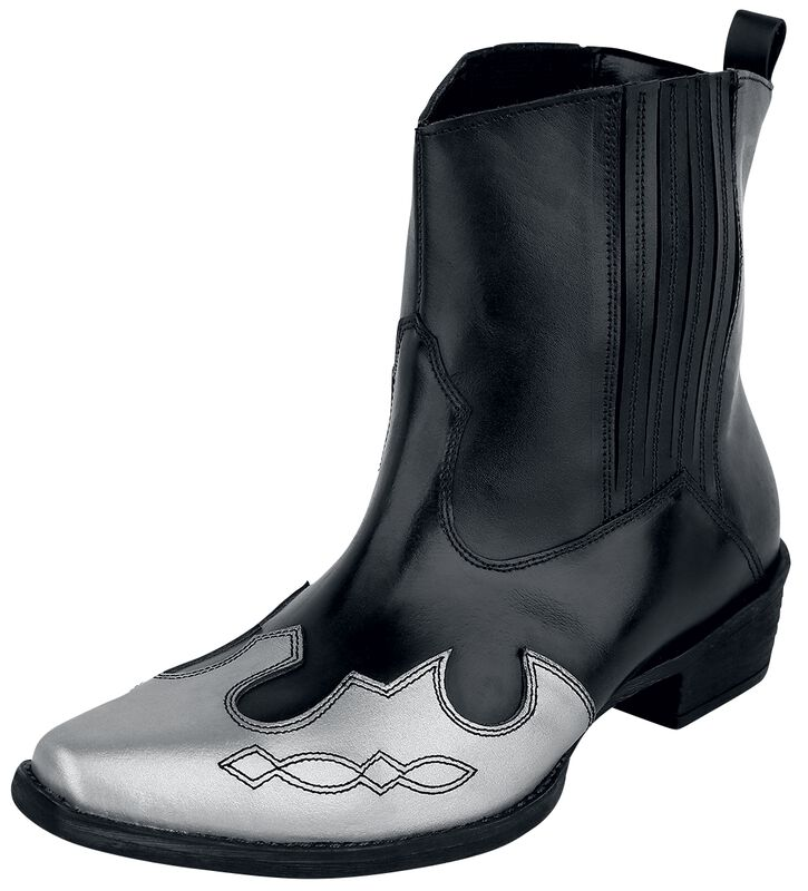 Black Cowboy Boots with Contrasting Coloured Tip