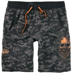 Swimshorts with Camouflage Pattern and Bold Prints