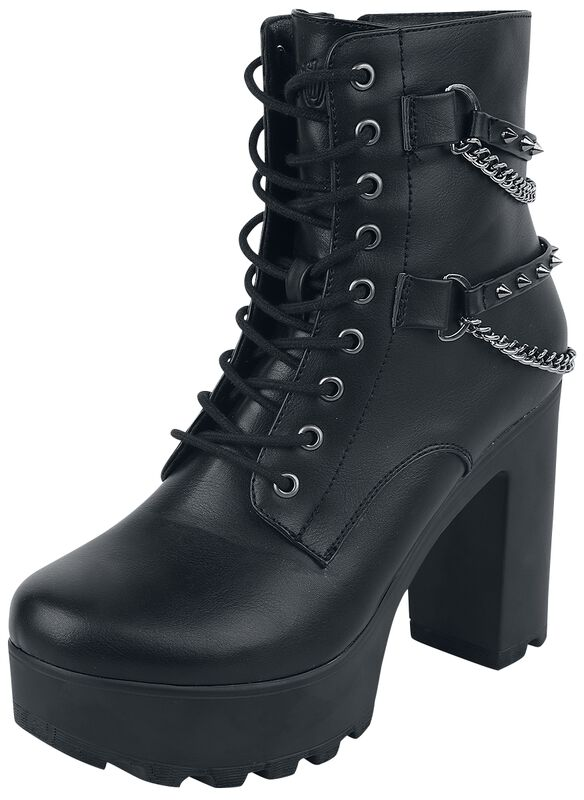 Black Boots with Studded Straps and Chains