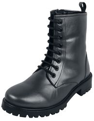 Dark-Grey Lace-Up Boots with Inner Zip