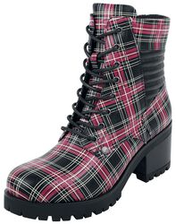 Black Lace-Up Boots with Checked Pattern