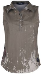 Beige Short-Sleeve Shirt with Wash and Print