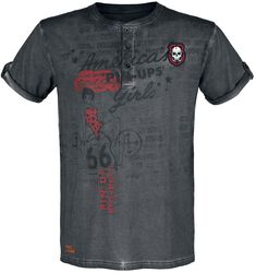 Rock Rebel X Route 66 - Grey T-Shirt with Pin-Up Print