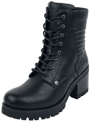 Black Lace-Up Boots with Heel