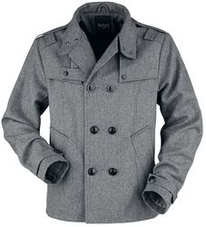 Between-seasons jacket with double row button placket