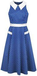 Blue White Polka Dots 40s Swing Dress
