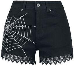 Schwarze Shorts mit Print und Spitzensaumkante
