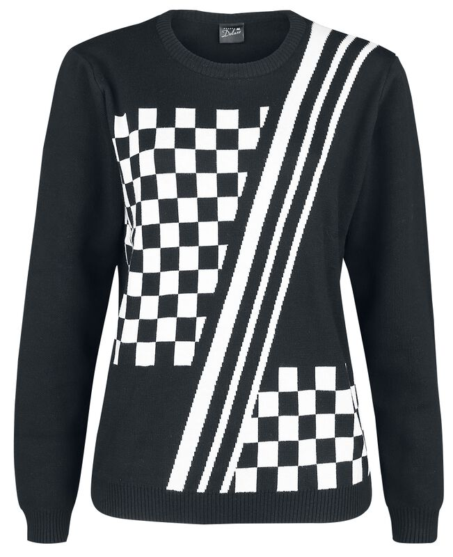Checkered Knit Pullover