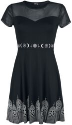 Black Dress with Mesh Insert and Print