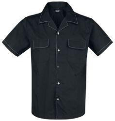 Black Bowling Shirt with White Seams