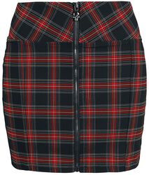 Black/red checked skirt with zip