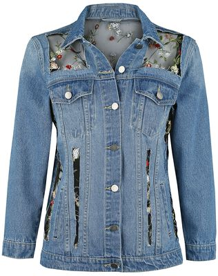 Denim Jacket with Net Fabric and Floral Embroidery