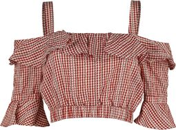 Sophia Loren Gingham Ruffle Crop Top