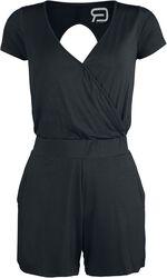 Short Black Jumpsuit with Back Cut-Out