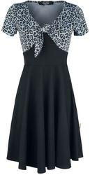Short Black Dress with Animal-Look Upper Part