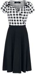 Black/White 50s Style Checked Dress with Checked Upper Part