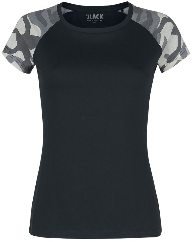 Black T-shirt with Camouflage Sleeves
