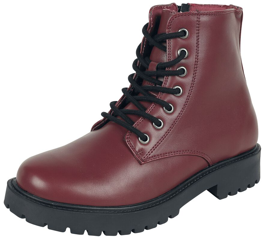 Dark Red Lace-Up Boots