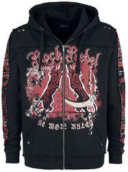 Black Hooded Jacket with Rock Rebel and Tiger Prints