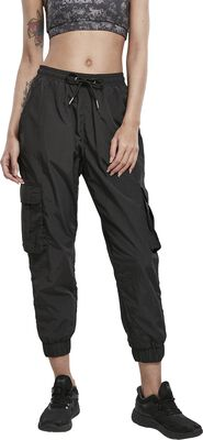 Ladies High Waist Crinkle Nylon Cargo Pants