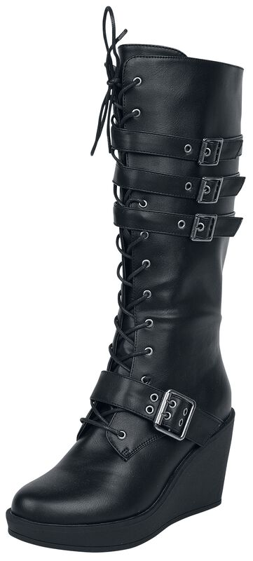 Black Lace-Up Boots with Heel and Buckles