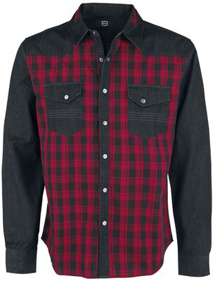 Black/Red Checked Shirt with Chest Pockets