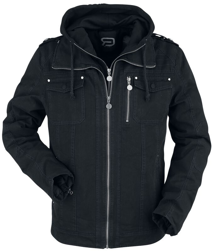 Black between-seasons jacket with inserted hood