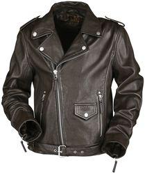 Brown Biker-Look Leather Jacket