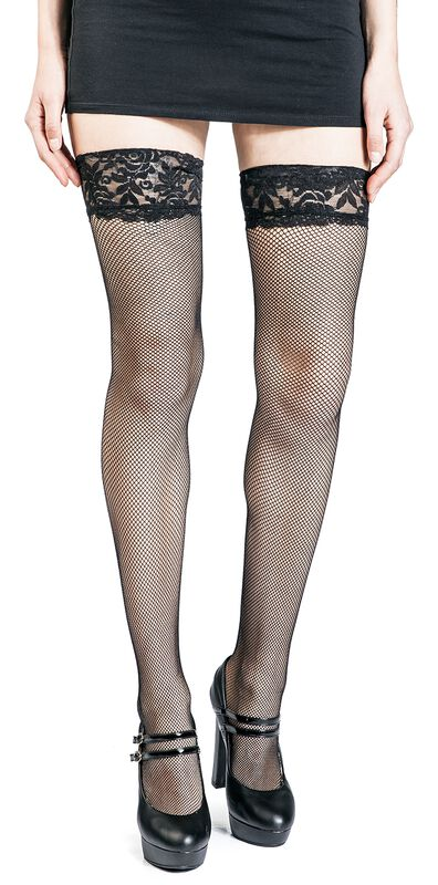 Fishnet Lace Top Hold-Ups