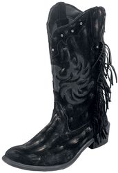 Dark-Brown Cowboy Boots with Fringe and Studs