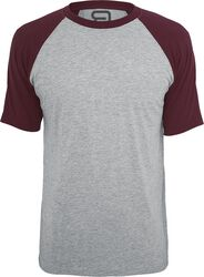 Mottled Grey T-shirt with Burgundy Sleeves