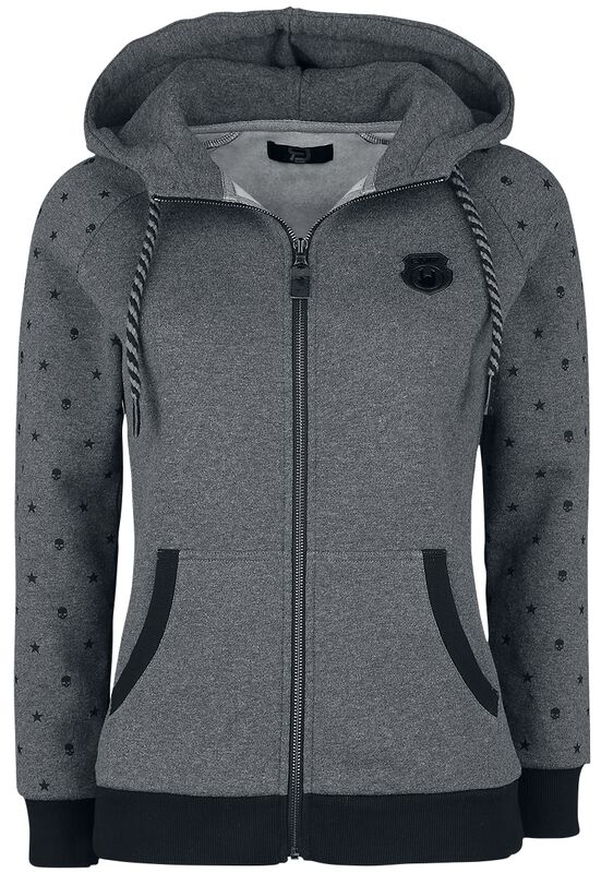 Grey hooded jacket with printed sleeves