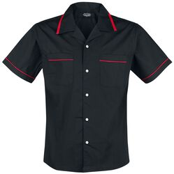 Black Bowling Shirt with Red Details
