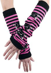Striped Arm Warmers With Cat Skulls