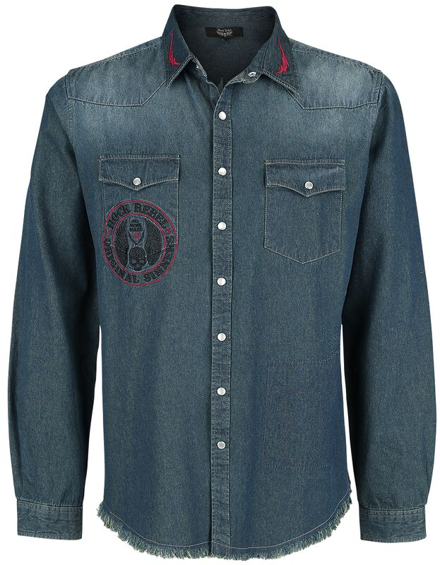 Blue Denim Jacket with Patches and Wash