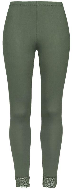 Green Leggings with Lace Seam Black Premium