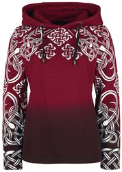 Red hoodie with Celtic print