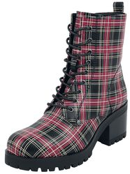 Black Lace-Up Boots with Checked Pattern and Heel