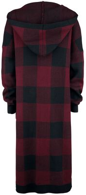 Black/red checkered cardigan with hood