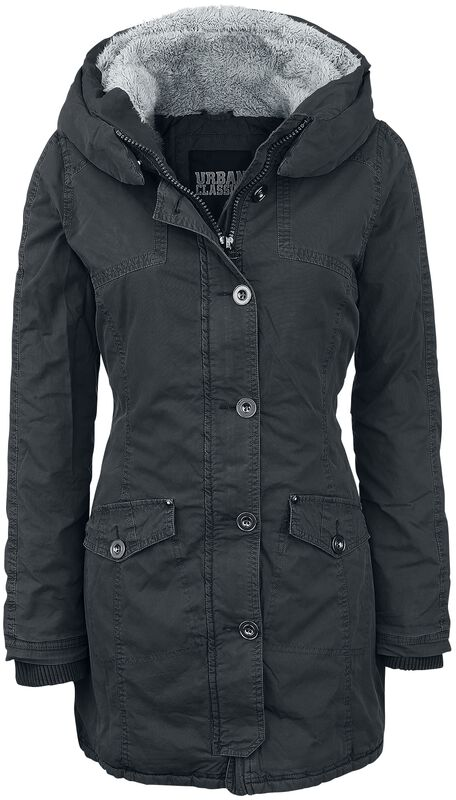 Ladies Garment Washed Long Parka