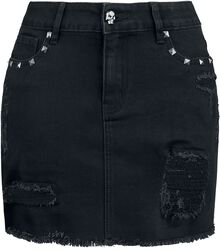 Black Denim Skirt with Rips and Studs