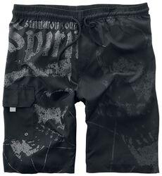 Black Swim Shorts with Skull Prints