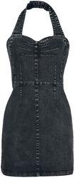 Rock-Style Halterneck Denim Dress