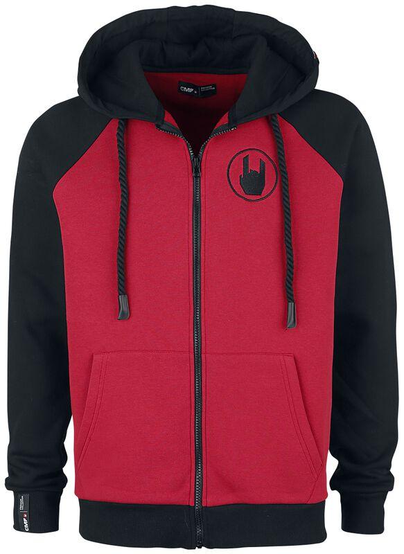 Red/Black Hooded Jacket with Raglan Sleeves