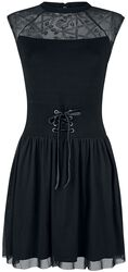 Black Dress with Mesh, Lacing and Print