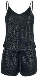 Short Black Jumpsuit with Print