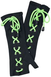 Black Arm-Warmers with Print and Lacing