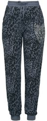 Grey/Black Fabric Trousers with Animal Print and Rhinestones