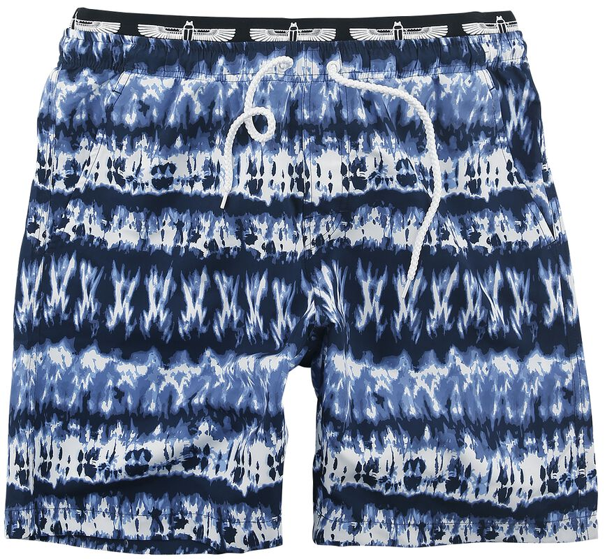 Blue/White Swimshorts in Batik Look